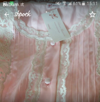 camicia da notte raso rosa e merlet