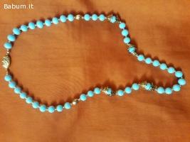 collana perle azzurre