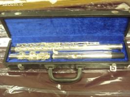 flauto traverso argentato completo
