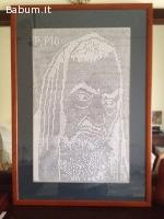 Quadro Padre Pio a uncinetto Filet